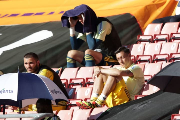 Ozil warmed the bench when football initially returned following lockdown - but hasn't featured since