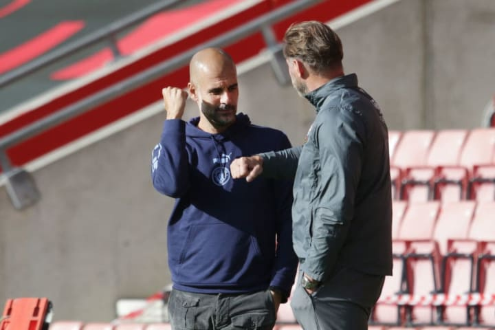 Pep Guardiola with Ralph Hasenhuttl