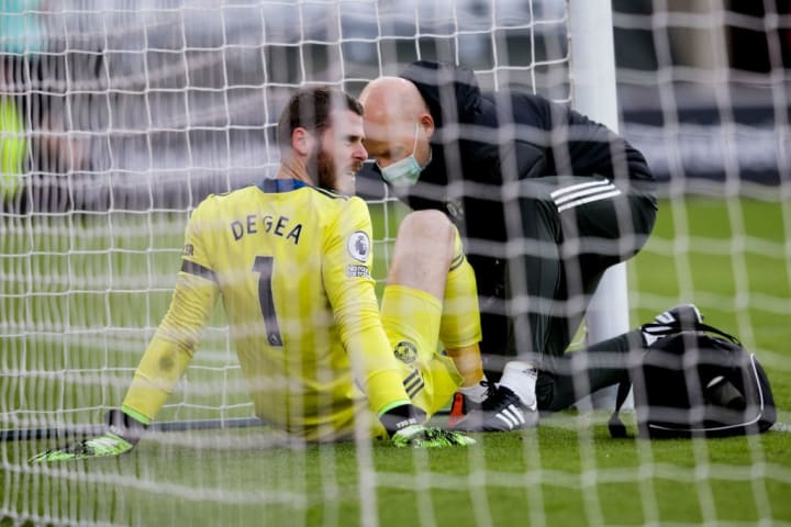David De Gea was forced off at half-time during Manchester United's Premier League meeting with Southampton