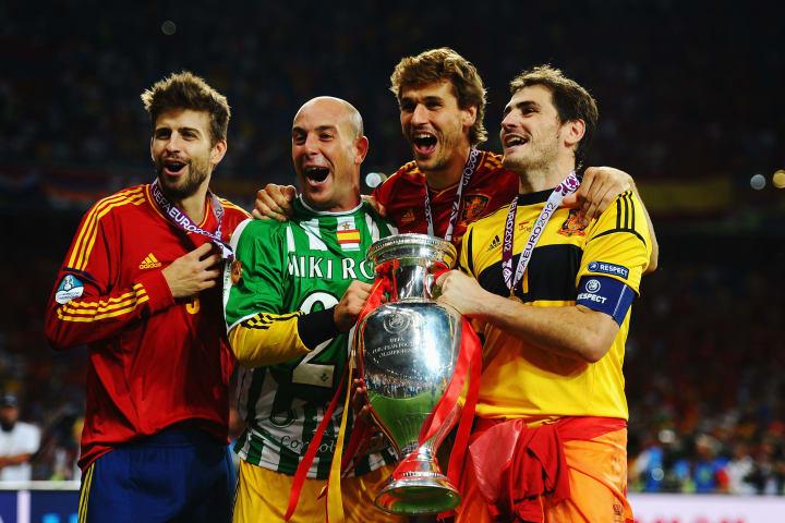 Gerard Pique, Pepe Reina, Iker Casillas, Fernando Llorente