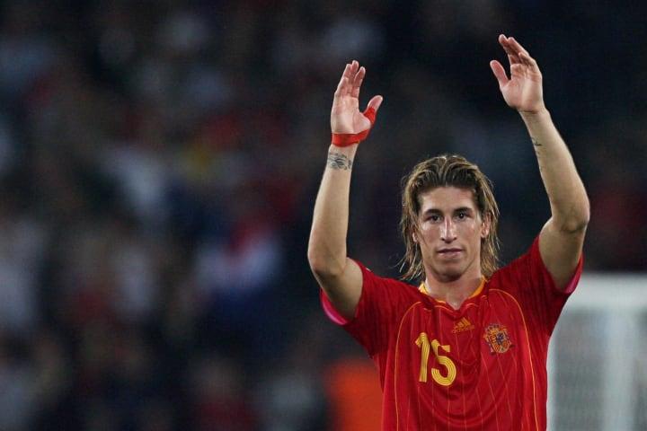 Spanish defender Sergio Ramos applauds a