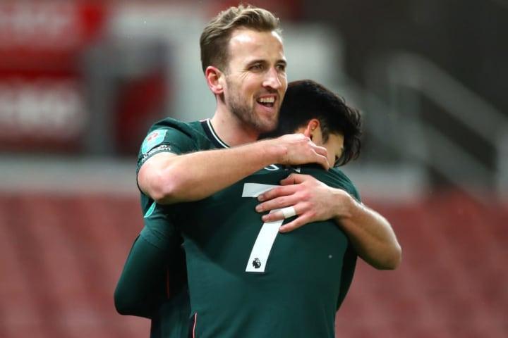 Kane celebrates his goal at Stoke
