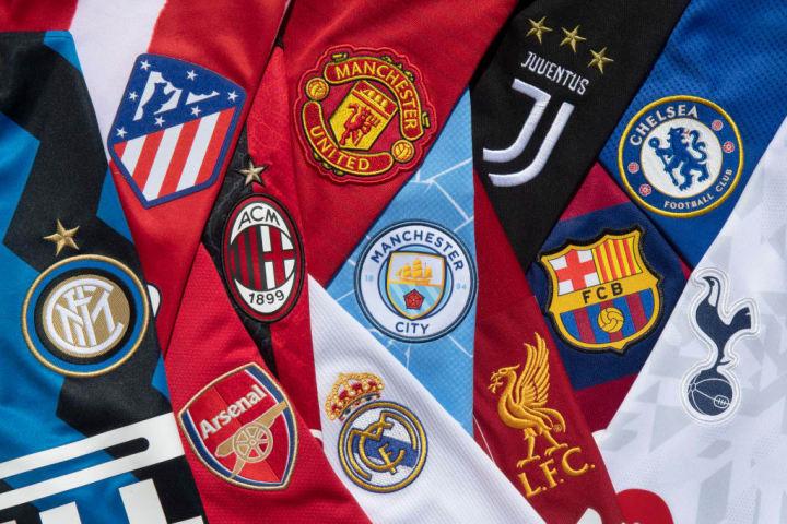 The Club Badges of the 12 European Super League teams
