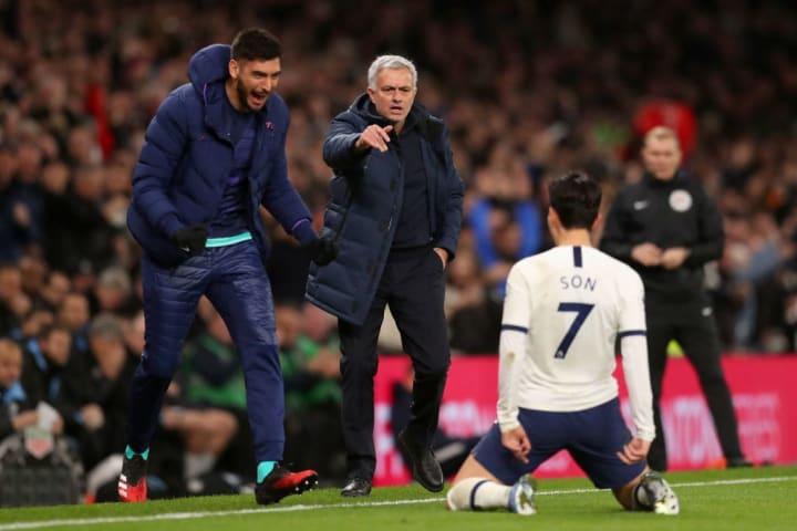 Son Heung-Min celebrates Tottenham's second goal against Manchester City