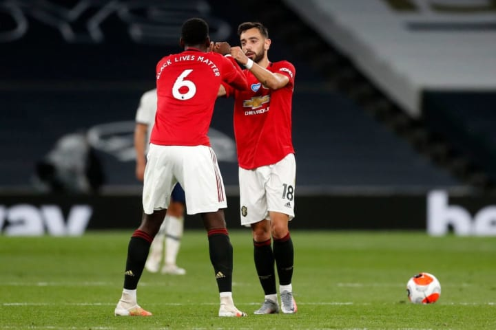Pogba and Bruno Fernandes during Friday's game