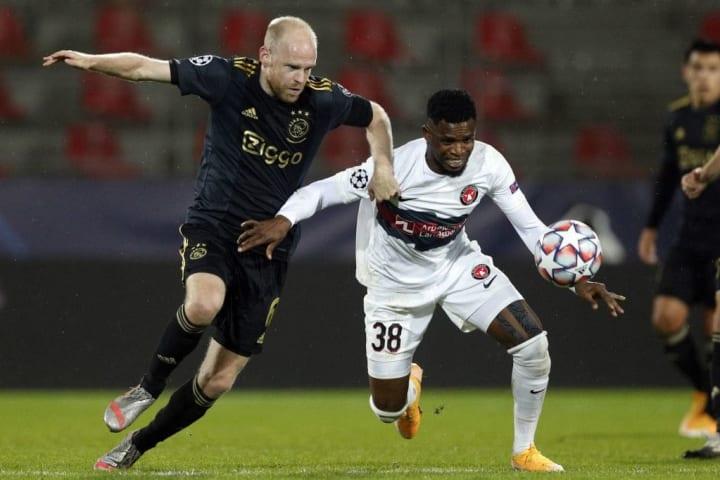 Frank Onyeka in action against Ajax
