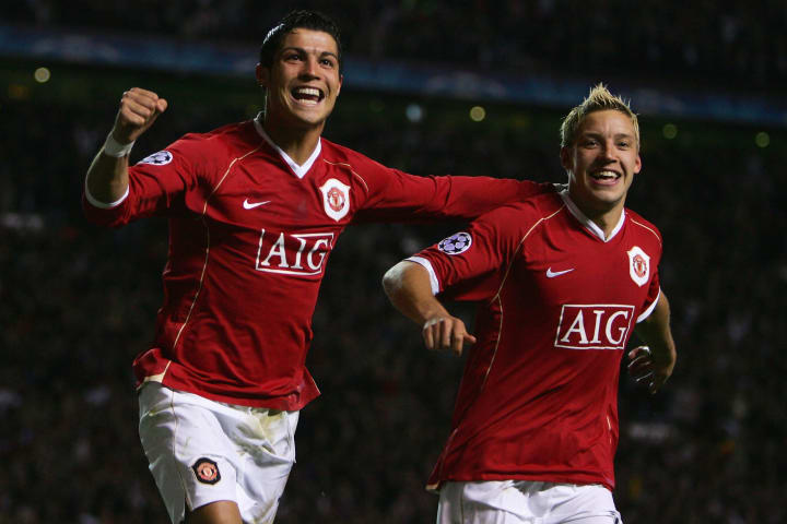 Cristiano Ronaldo scored his first ever European goals when Man Utd thrashed Roma in 2007