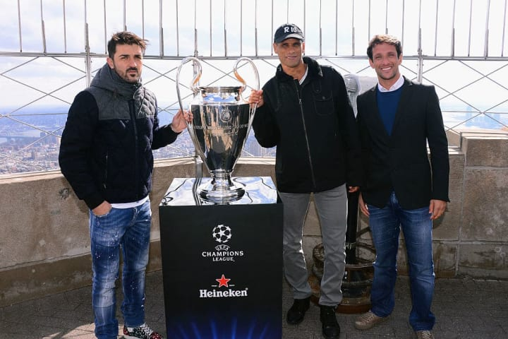 The Champions League trophy at the top of the Empire State Building in New York during its 2015 tour