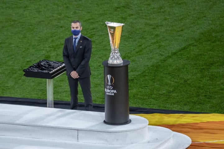 View of the Europa League cup during the UEFA Europa ...