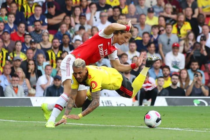 Luiz conceding a penalty against Watford