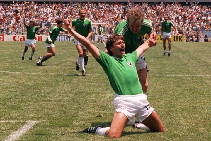 West German forward Klaus Allofs jubilat