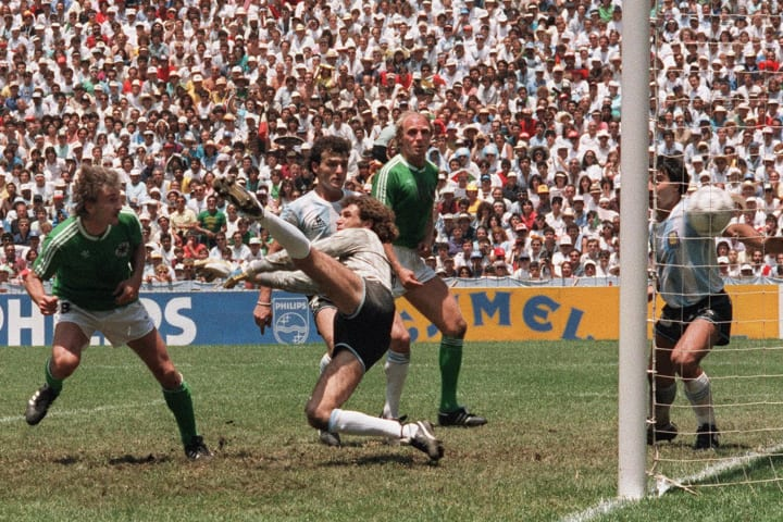 Voller scoring in the 1986 World Cup final