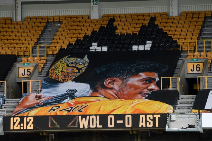 Wolves' banner in support of Raul Jimenez