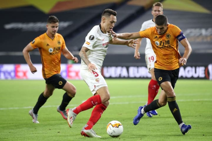Captain Coady representing Wolves in the Europa League Quarter Final against Sevilla.