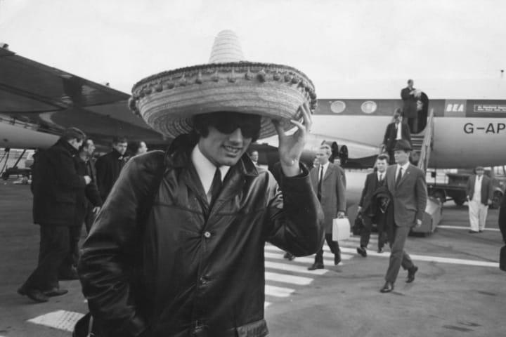 George Best wearing a big massive hat