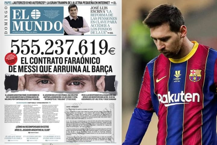 Hình ảnh hợp đồng của Messi bị rò rỉ ngày hôm qua đã gây bão