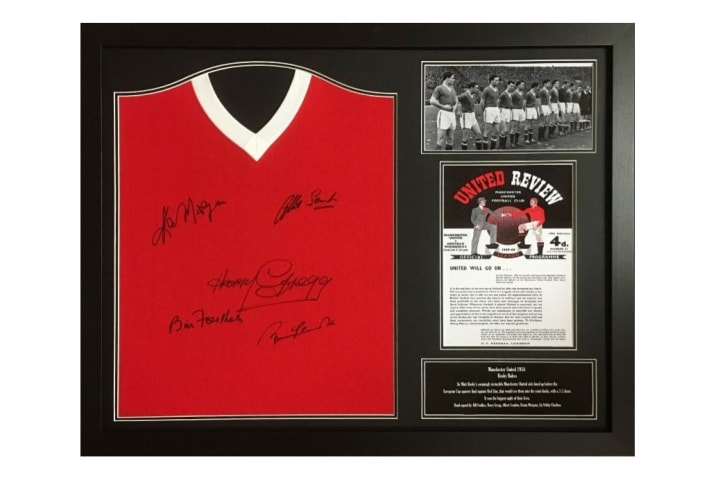 The Busby Babes replica shirt is signed by five Munich air disaster survivors