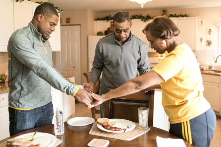 As a family, we give thanks before every meal.