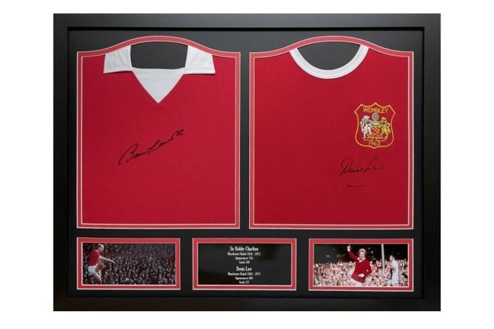 Double signed Bobby Charlton & Denis Law shirt display