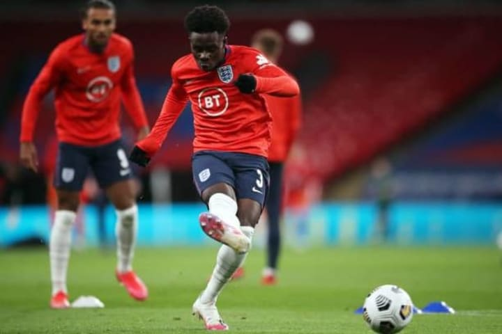 Saka training ahead of last months clash with Wales