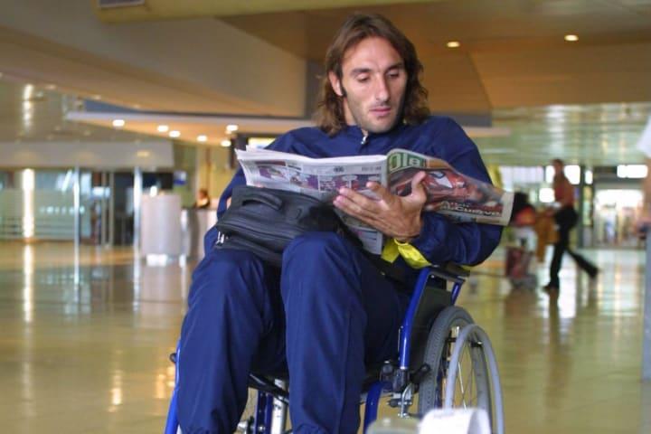 Rolando Schiavi luego de haber sido operado de apendicitis.