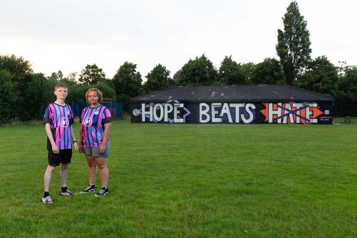 The 'Hope Beats Hate' mural has been created at Kingsway FC near the Marcus Rashford artwork