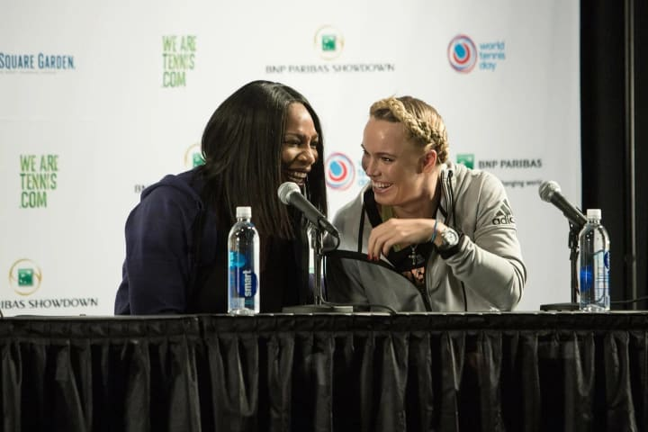 Serena and I share a laugh at the morning press conference … If only I could have heard the question we were asked.