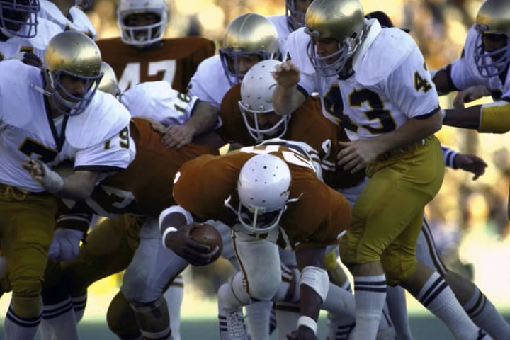 Texas' Earl Campbell runs against the Notre Dame defense in the 1978 Cotton Bowl.