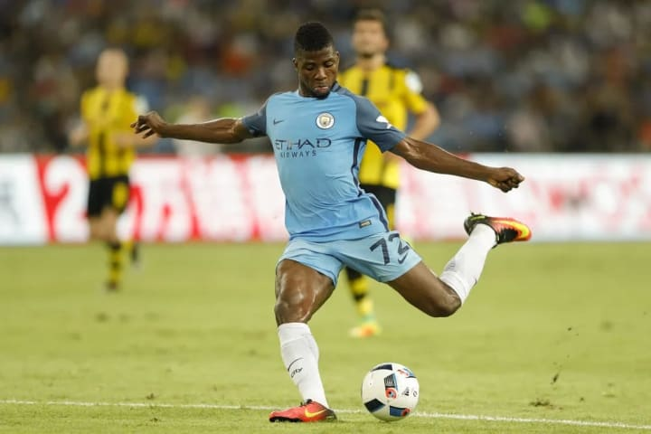 SHENZHEN, CHINA - JULY 28: Kelechi Iheanacho of Manchester City contests the ball during the 2016 International Champions Cup match between Manchester