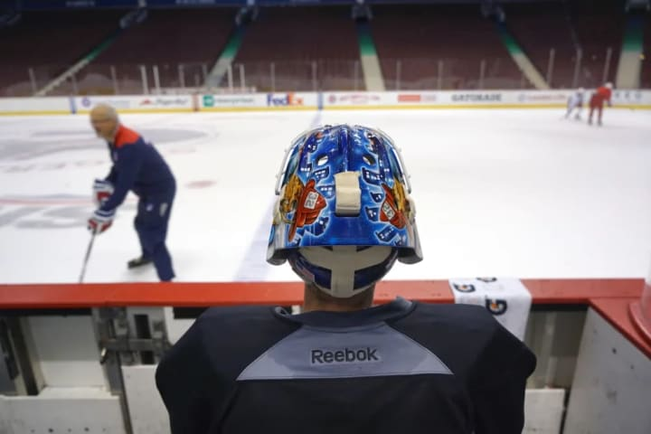 Antii Raatan goalie for the NY Rangers, photographed at a practice beofre playing the Vancouver Canucks on November 15, 2016 at the Rogers Arena.