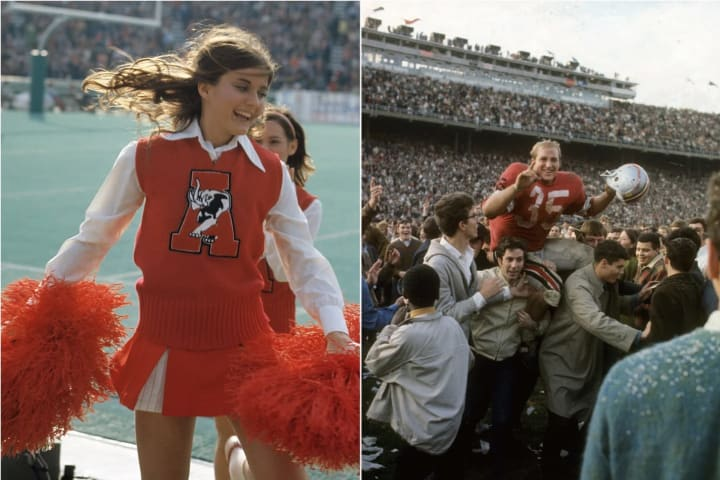 At left, an Alabama cheerleader during a game against LSU in 1972. At right, Ohio State's Jim Otis celebrates a win over Michigan in 1968.