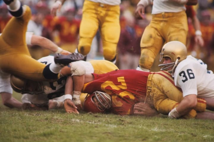 USC's O.J. Simpson after being tackled by Notre Dame at Los Angeles Memorial Coliseum in 1968.