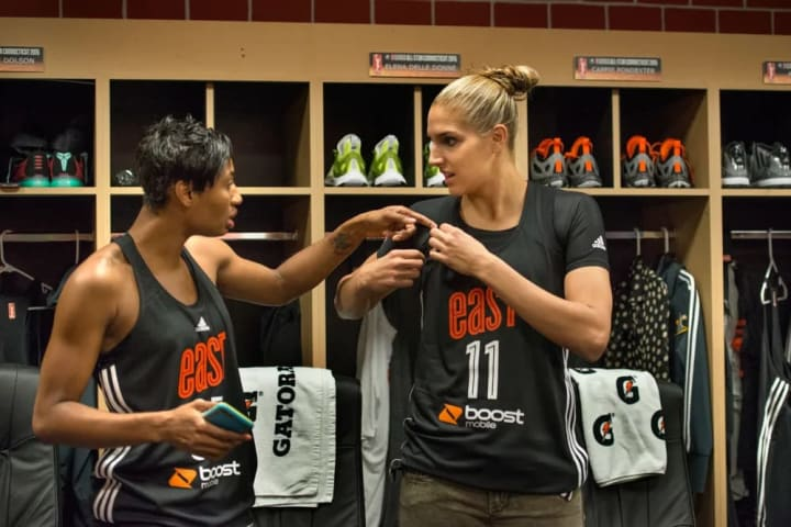 12:18PM Angel McCoughtry and I discuss the East All-Star jerseys.