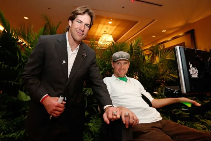 NEW ORLEANS, LA - JANUARY 31: Cleveland Browns linebacker Scott Fujita and former New Orleans Saint Steve Gleason attend the 2013 Legends For Charity