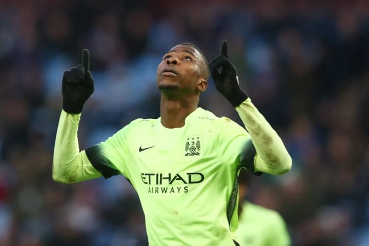 BIRMINGHAM, ENGLAND - JANUARY 30: Kelechi Iheanacho of Manchester City celebrates scoring his team's third and hat trick goal during the Emirates FA C