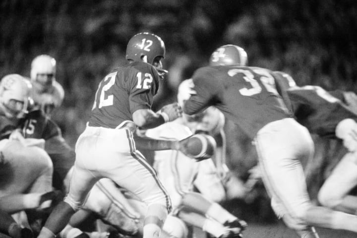Alabama QB Joe Namath against Texas in the Orange Bowl in 1965.