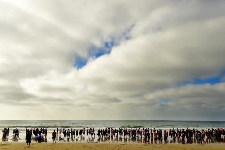 The beach scene in La Jolla for the Adaptive Surfing World Championships.