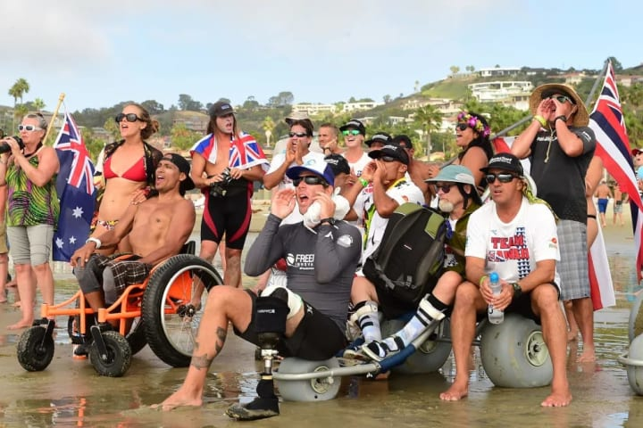 Team Hawaii supports from the beach during the finals.