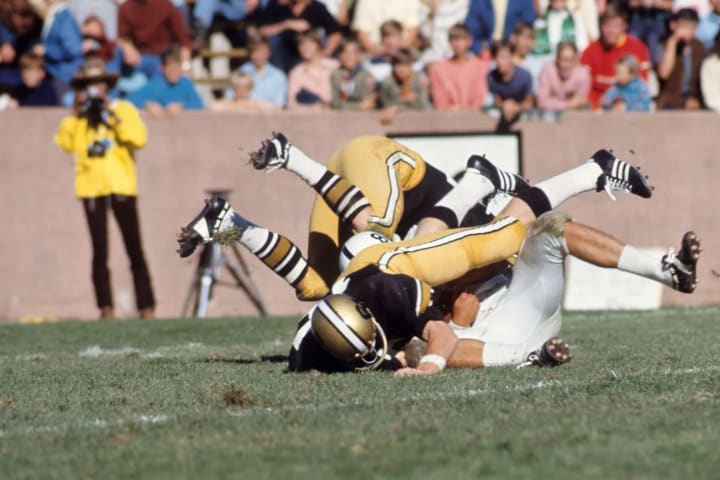 Colorado's defense in a pileup tackle against Penn State at Folsom Field in 1970.