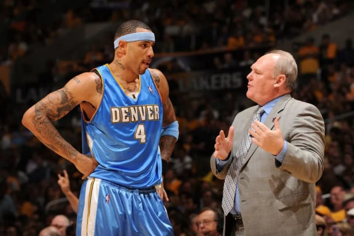 LOS ANGELES - MAY 19: Kenyon Martin #4 of the Denver Nuggets receives instruction from Head Coach George Karl while taking on the Los Angeles Lakers i