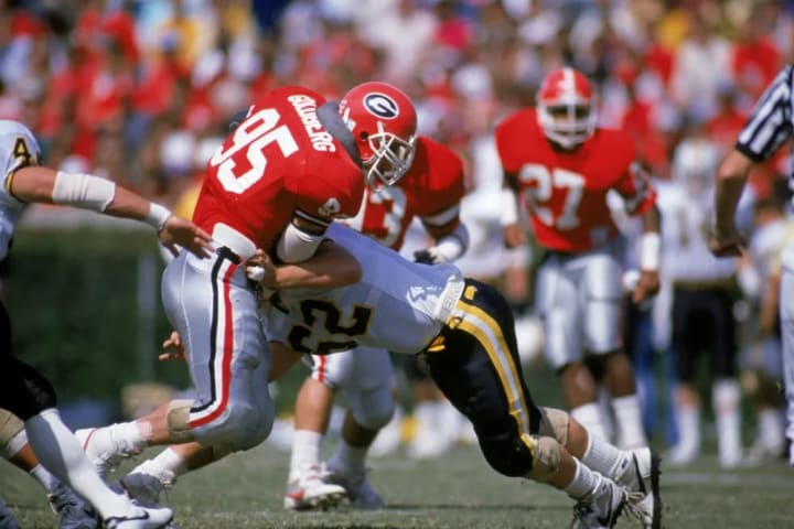 UNDATED - Nose guard Bill Goldberg Jr. of the University of Georgia Bulldogs makes a block during a game circa the 1988-1991 season. (Photo by Allen S