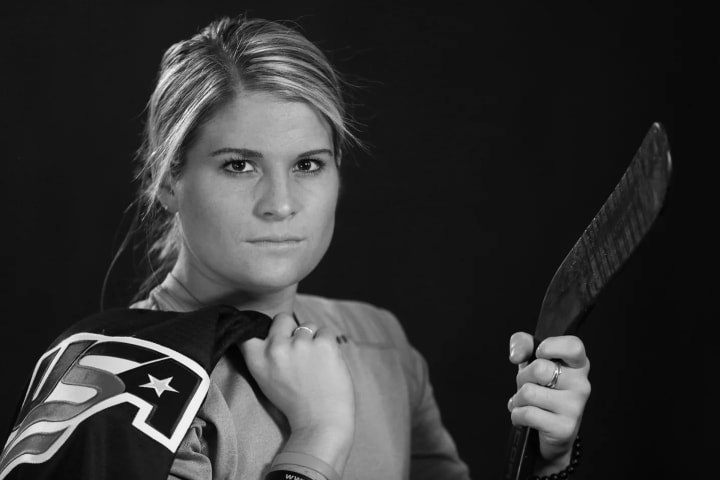 """— Forward #14: """"Hockey has brought me life long friends and teammates. Every time I get a chance to wear the USA uniform I never take it for granted a"""