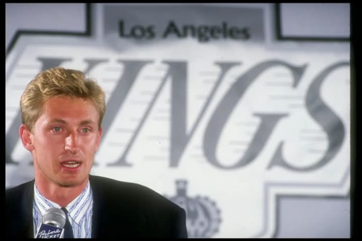 INGLEWOOD, CA - AUGUST 9: Center Wayne Gretzky #99 speaks at a press conference announcing his trade to the Los Angeles Kings at the Forum on August 9