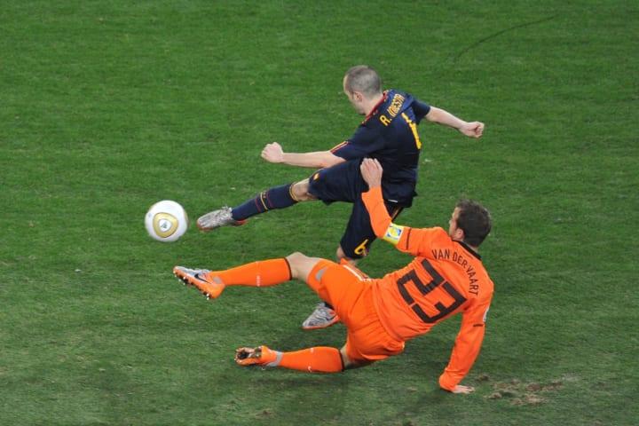 Iniesta scoring the winner in a World Cup final