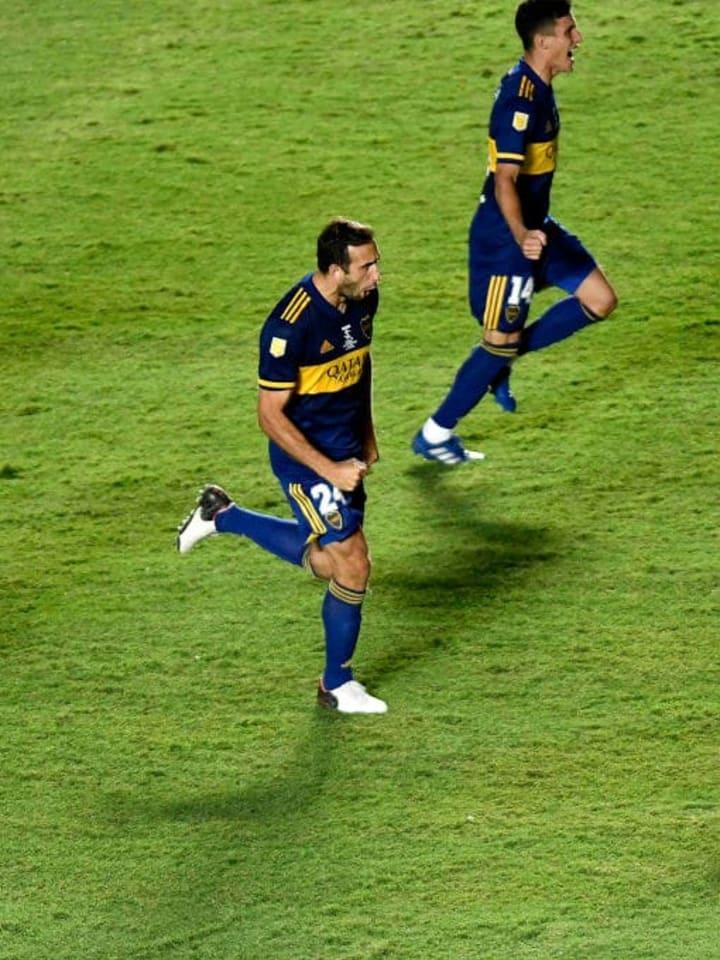 Banfield v Boca Juniors - Copa Diego Maradona 2020 Final - Izquierdoz festeja el título