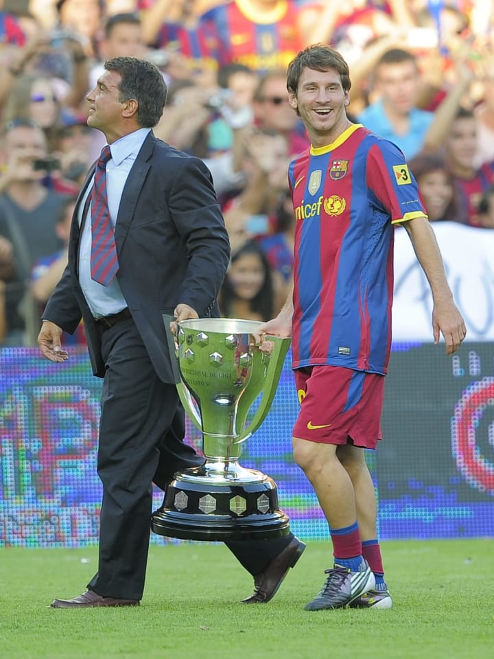 Laporta and Messi together in old times