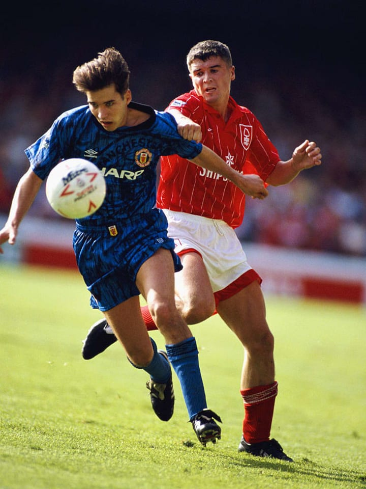 Keane in action for Forest against Man Utd