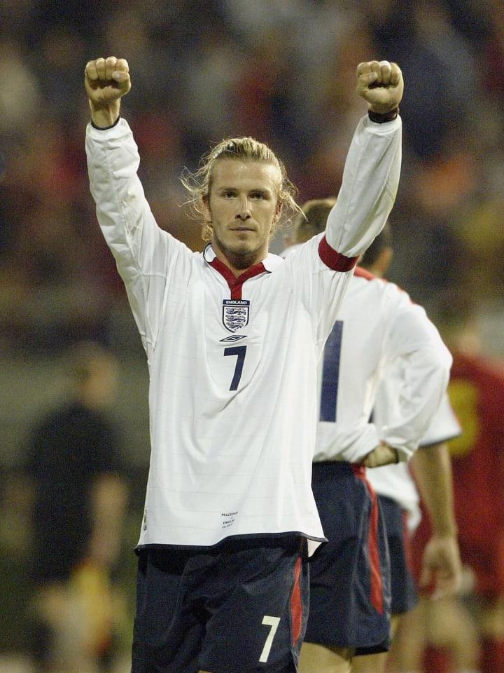 David Beckham of England celebrates to the crowd