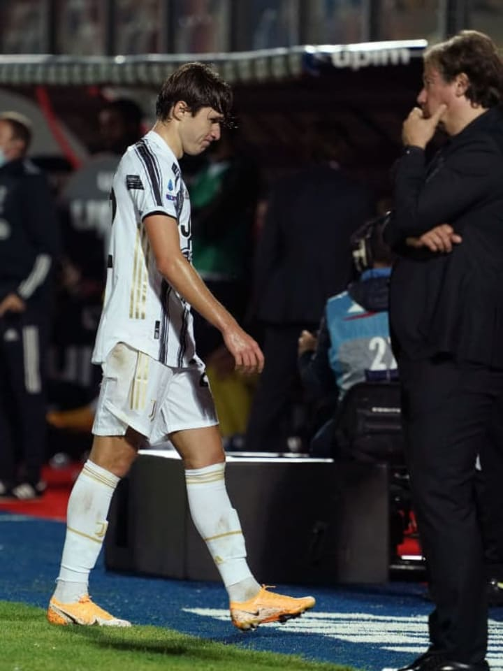 Chiesa was sent off in Juventus' draw with Crotone at the weekend