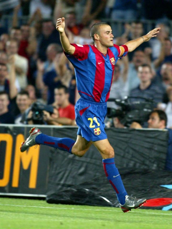 Luis Enrique of Barcelona celebrates scoring during